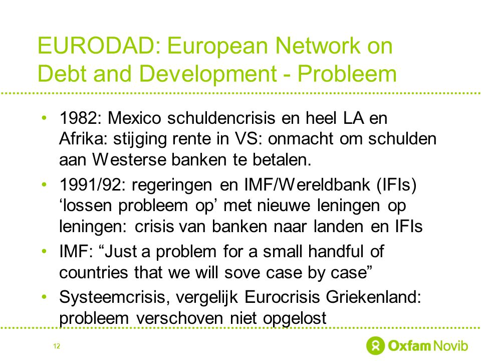 EURODAD: European Network on Debt and Development - Probleem