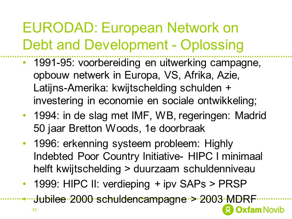 EURODAD: European Network on Debt and Development - Oplossing