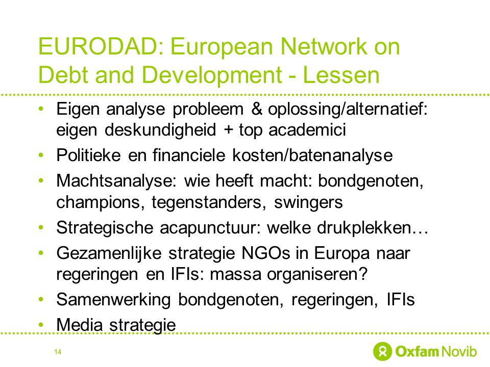 EURODAD: European Network on Debt and Development - Lessen