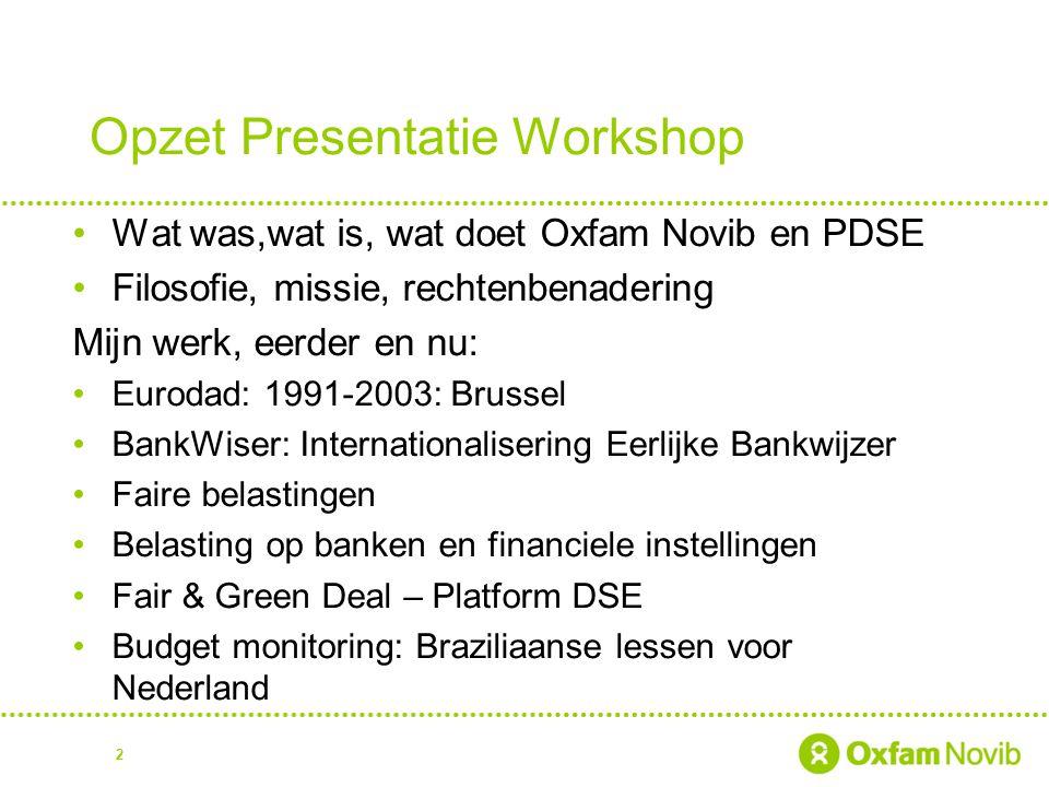 Opzet Presentatie Workshop