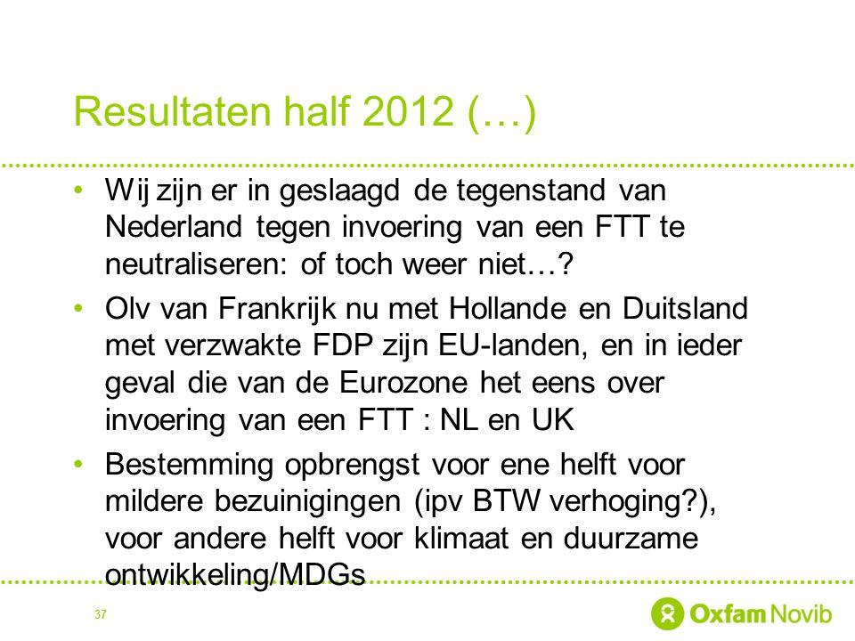 Resultaten half 2012 (…) Wij zijn er in geslaagd de tegenstand van Nederland tegen invoering van een FTT te neutraliseren: of toch weer niet…
