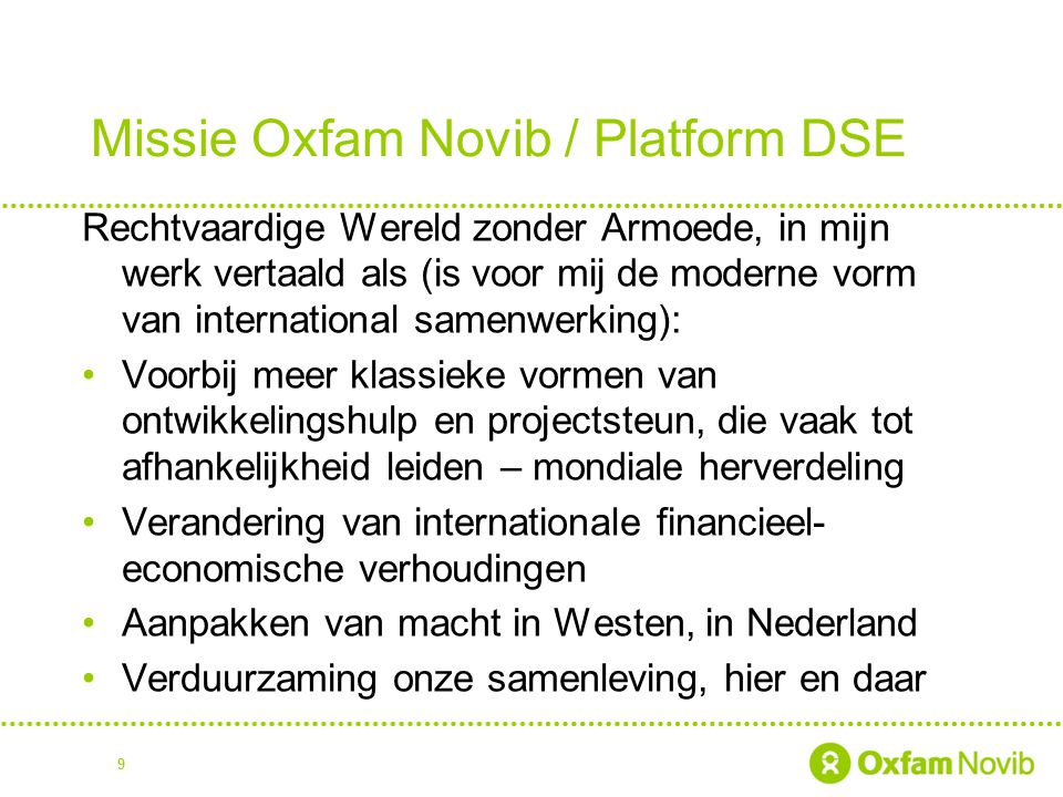 Missie Oxfam Novib / Platform DSE