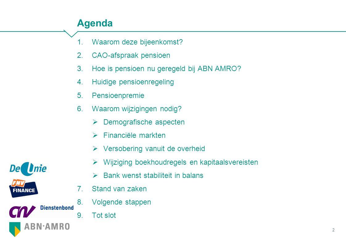 Agenda Waarom deze bijeenkomst CAO-afspraak pensioen