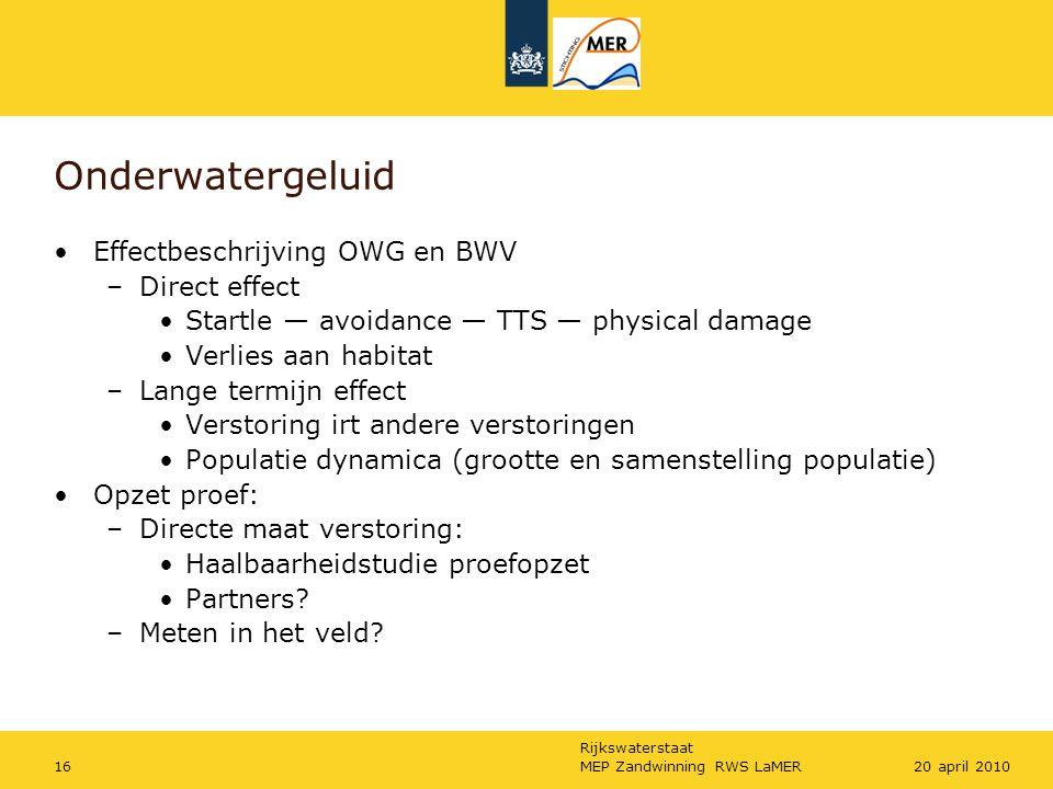 Onderwatergeluid Effectbeschrijving OWG en BWV Direct effect