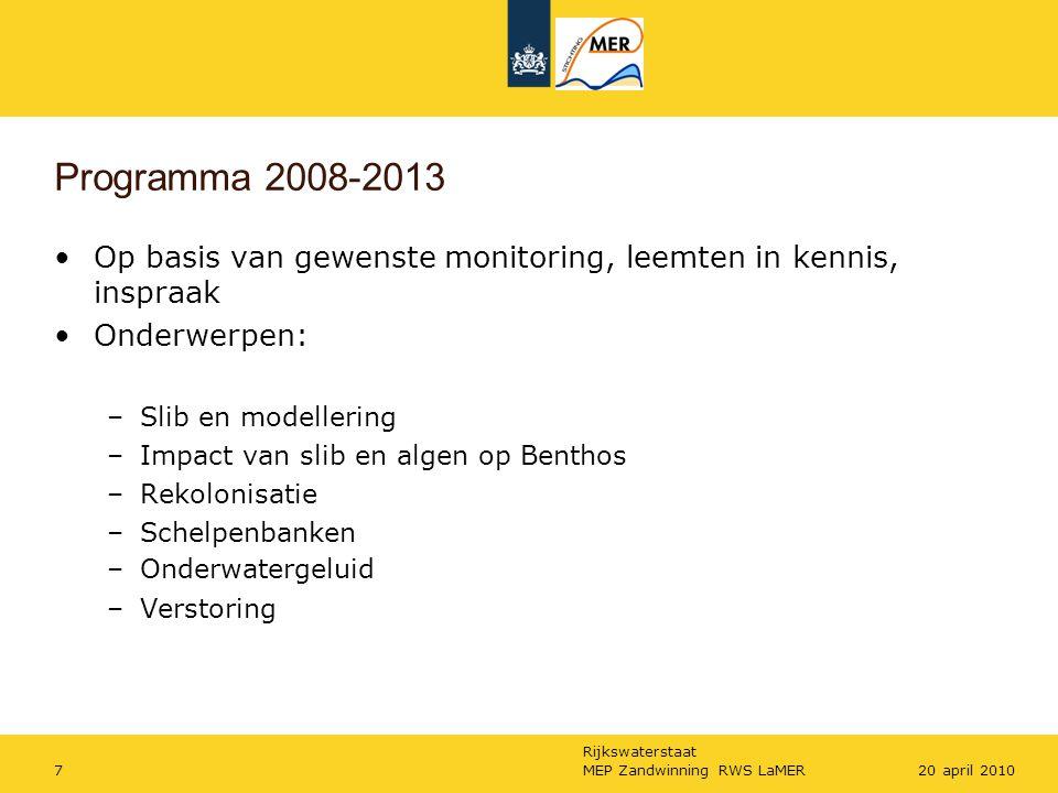 Programma 2008-2013 Op basis van gewenste monitoring, leemten in kennis, inspraak. Onderwerpen: Slib en modellering.