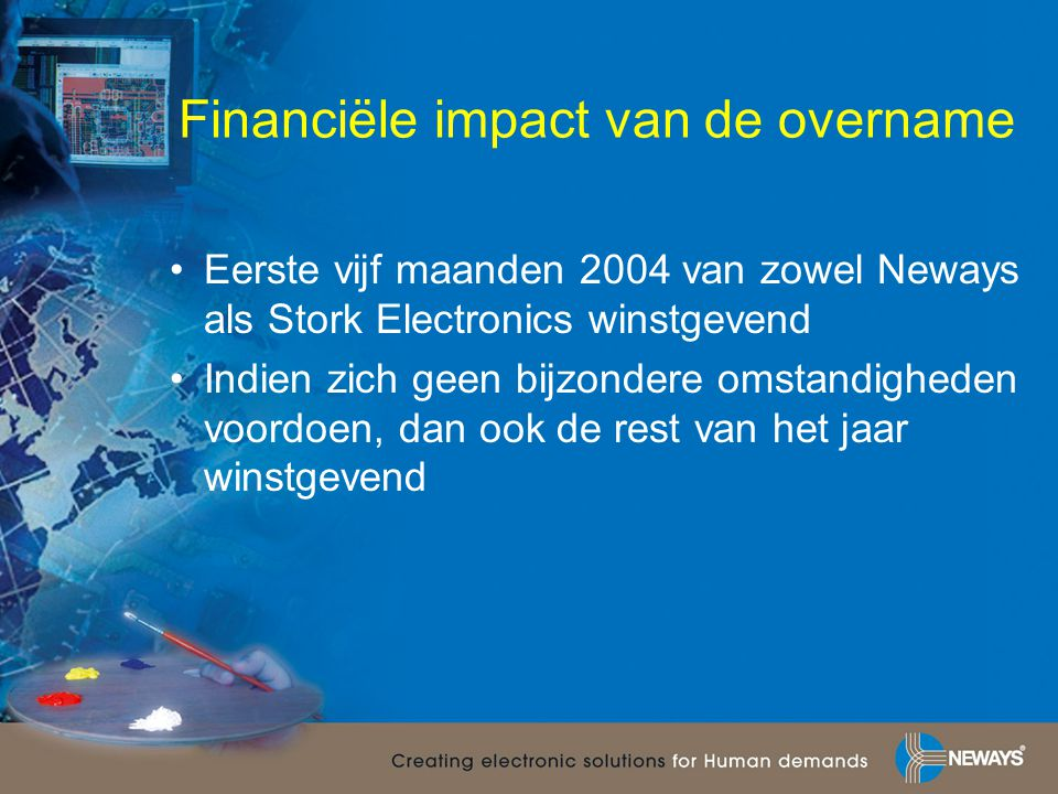 Financiële impact van de overname