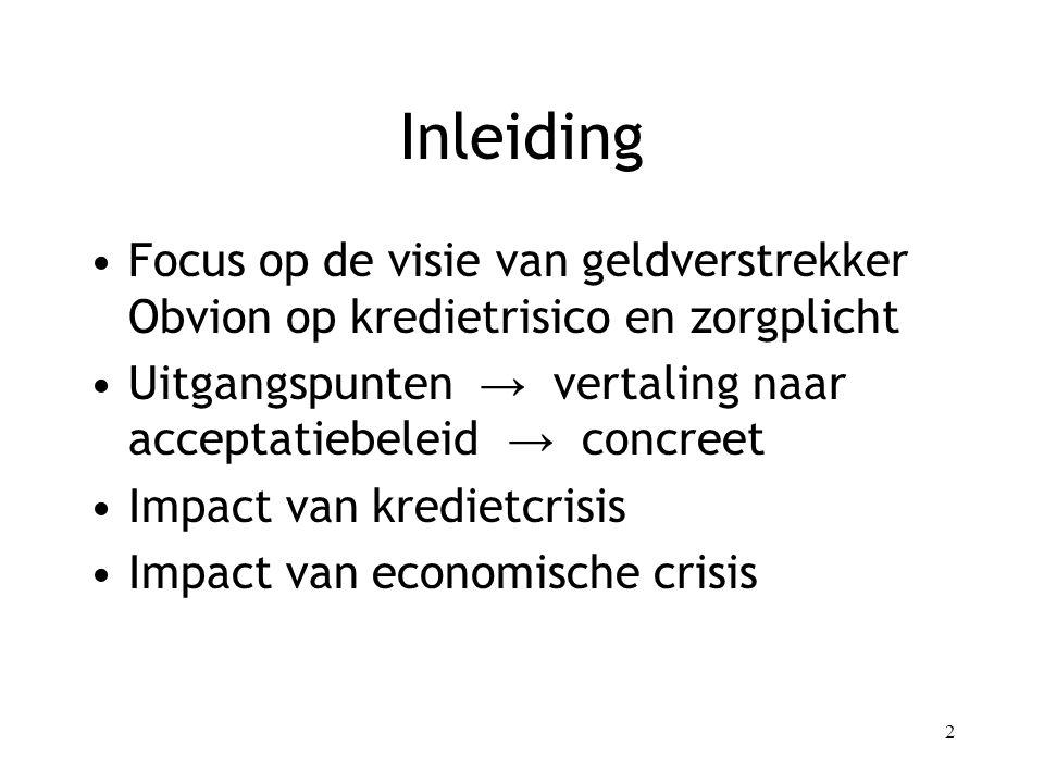 Inleiding Focus op de visie van geldverstrekker Obvion op kredietrisico en zorgplicht.