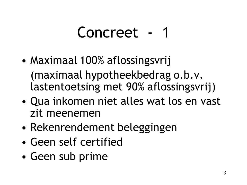 Concreet - 1 Maximaal 100% aflossingsvrij