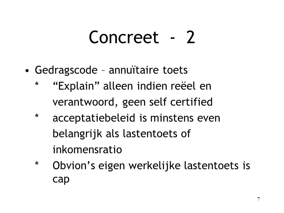 Concreet - 2 Gedragscode – annuïtaire toets