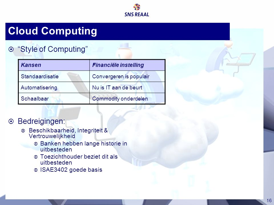 Cloud Computing Style of Computing Bedreigingen: