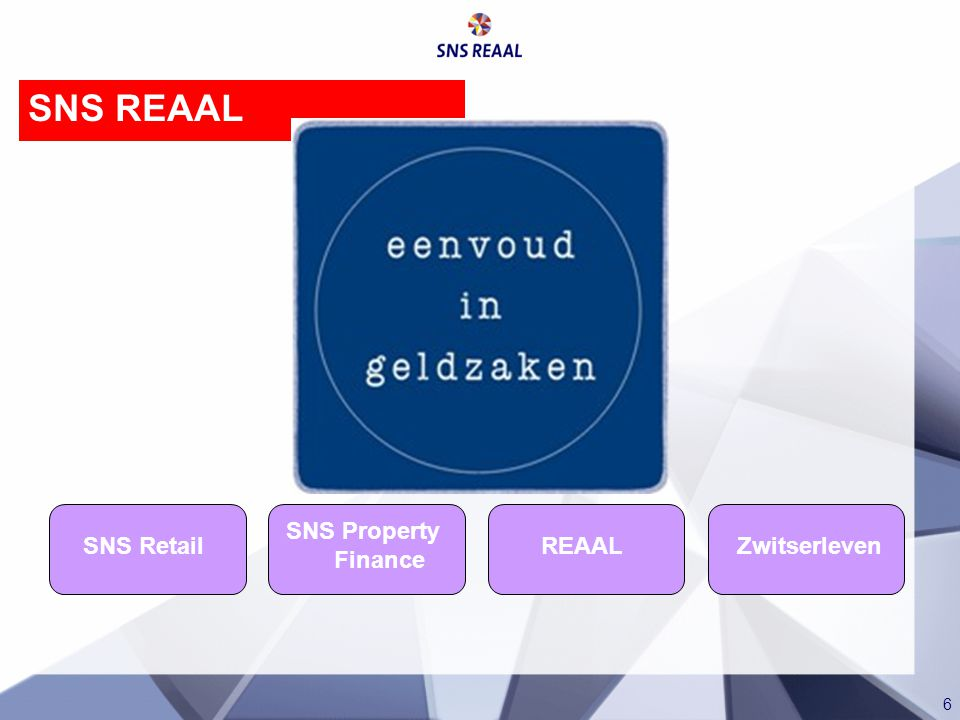 SNS REAAL SNS Retail REAAL SNS Property Finance Zwitserleven
