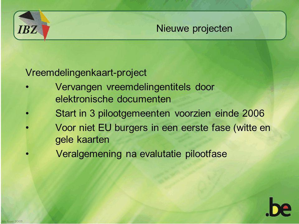 Nieuwe projecten Vreemdelingenkaart-project. Vervangen vreemdelingentitels door elektronische documenten.