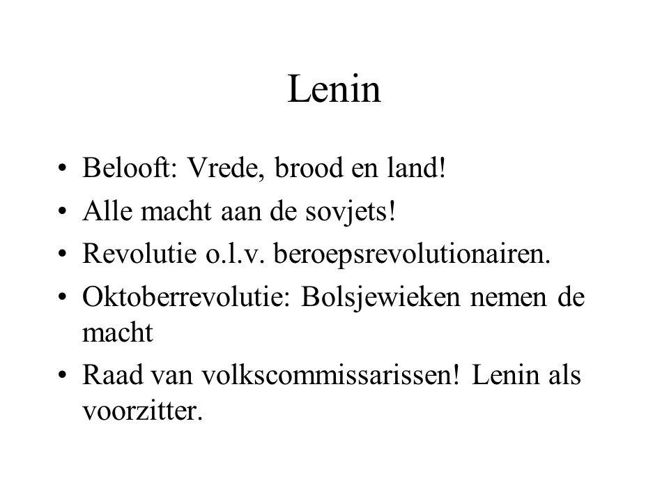 Lenin Belooft: Vrede, brood en land! Alle macht aan de sovjets!