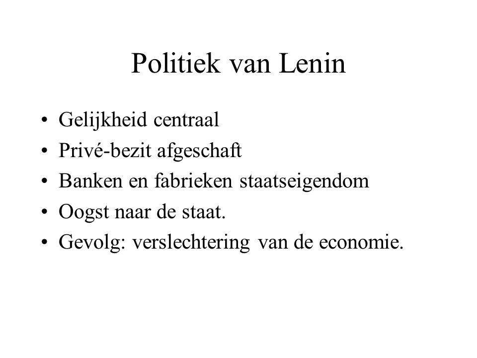 Politiek van Lenin Gelijkheid centraal Privé-bezit afgeschaft