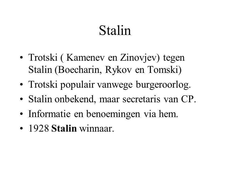 Stalin Trotski ( Kamenev en Zinovjev) tegen Stalin (Boecharin, Rykov en Tomski) Trotski populair vanwege burgeroorlog.