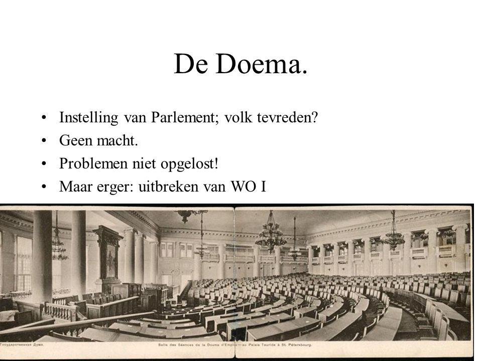 De Doema. Instelling van Parlement; volk tevreden Geen macht.