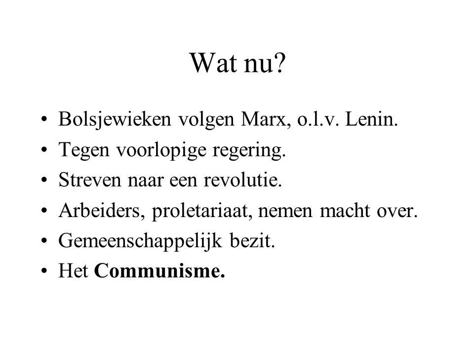 Wat nu Bolsjewieken volgen Marx, o.l.v. Lenin.