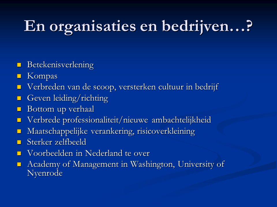 En organisaties en bedrijven…