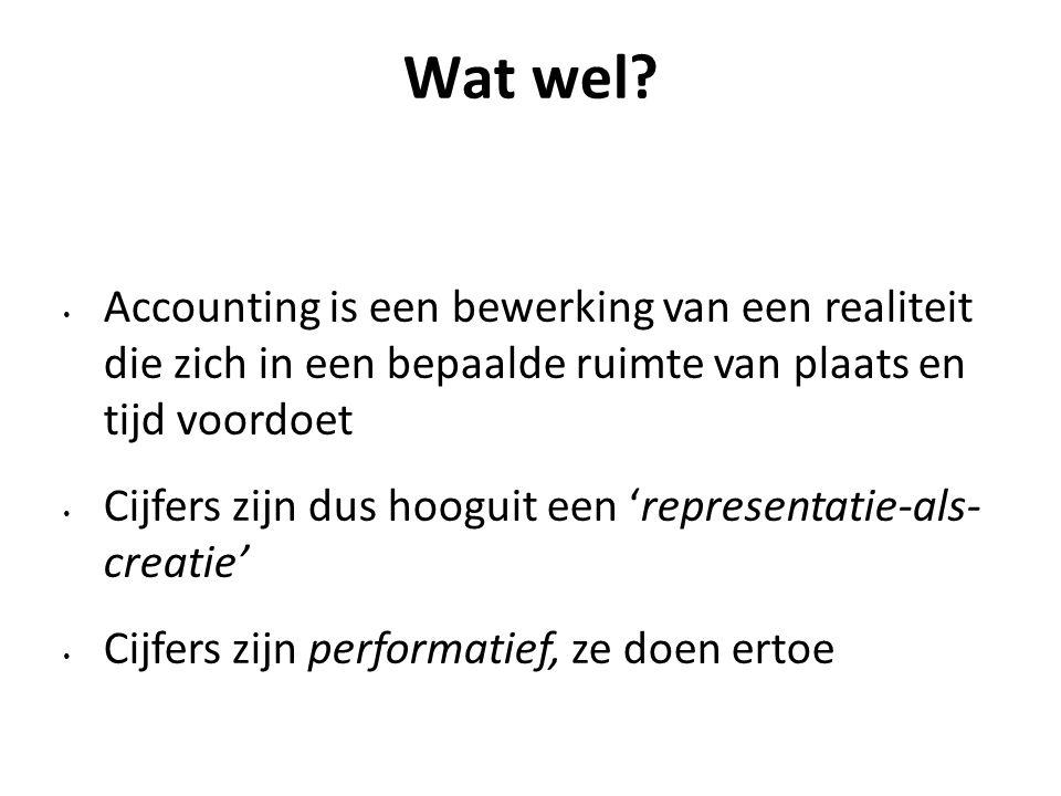 Wat wel Accounting is een bewerking van een realiteit die zich in een bepaalde ruimte van plaats en tijd voordoet.