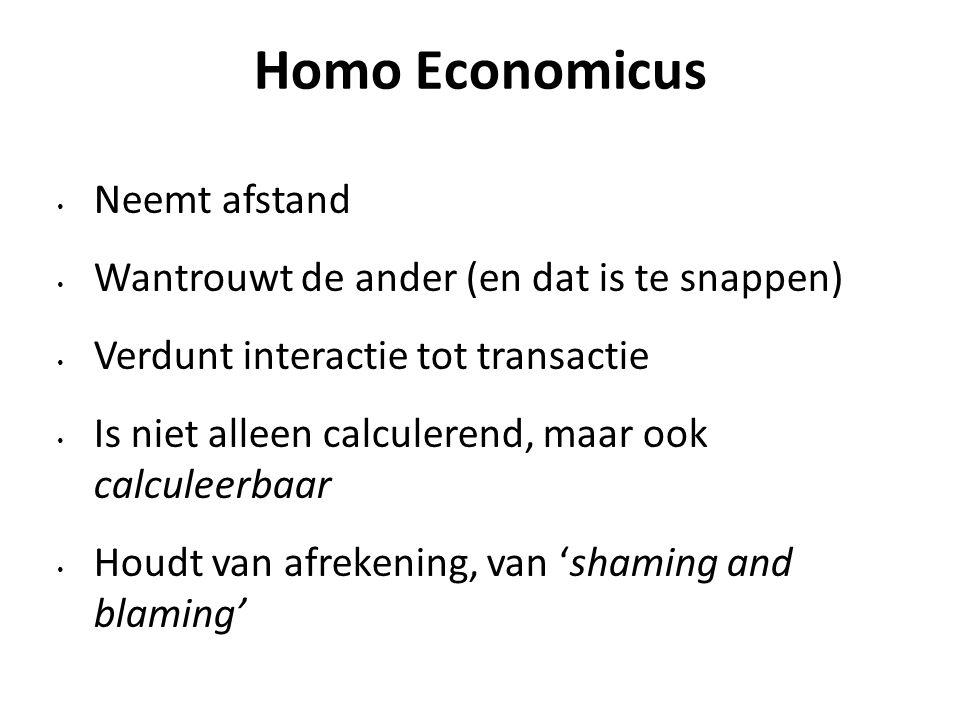 Homo Economicus Neemt afstand