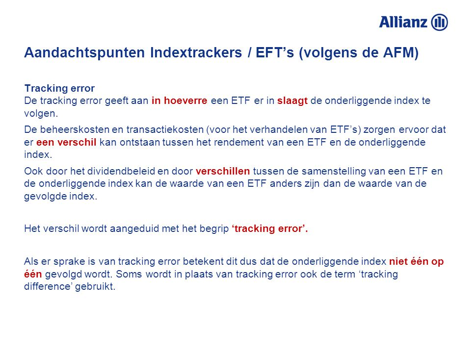 Aandachtspunten Indextrackers / EFT's (volgens de AFM)
