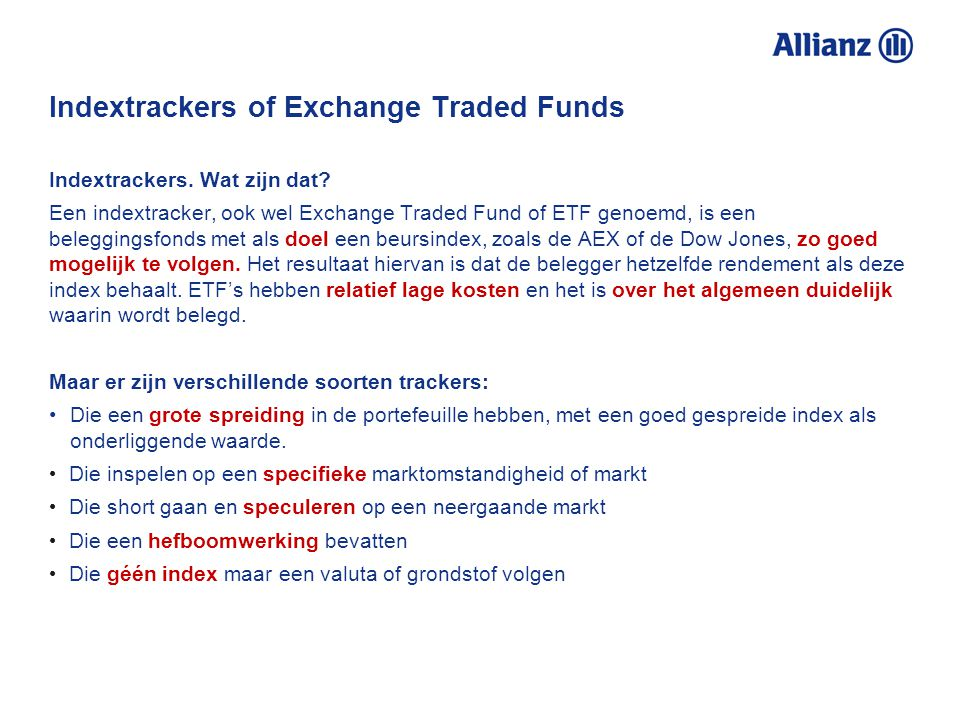 Indextrackers of Exchange Traded Funds