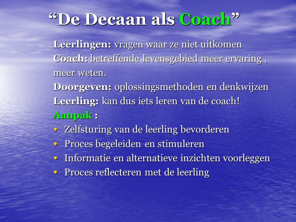De Decaan als Coach Leerlingen: vragen waar ze niet uitkomen