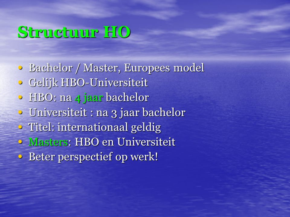 Structuur HO Bachelor / Master, Europees model Gelijk HBO-Universiteit