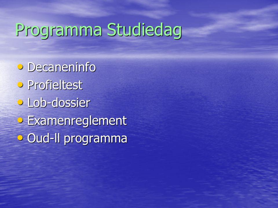 Programma Studiedag Decaneninfo Profieltest Lob-dossier