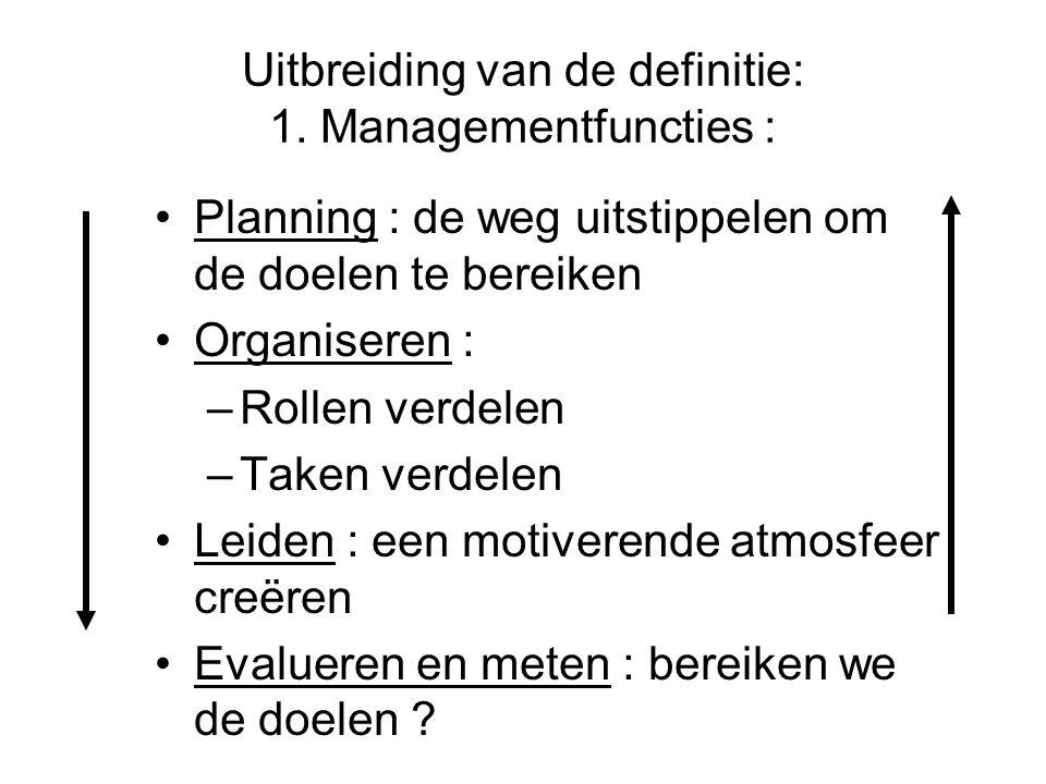 Uitbreiding van de definitie: 1. Managementfuncties :