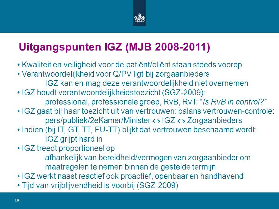 Uitgangspunten IGZ (MJB 2008-2011)
