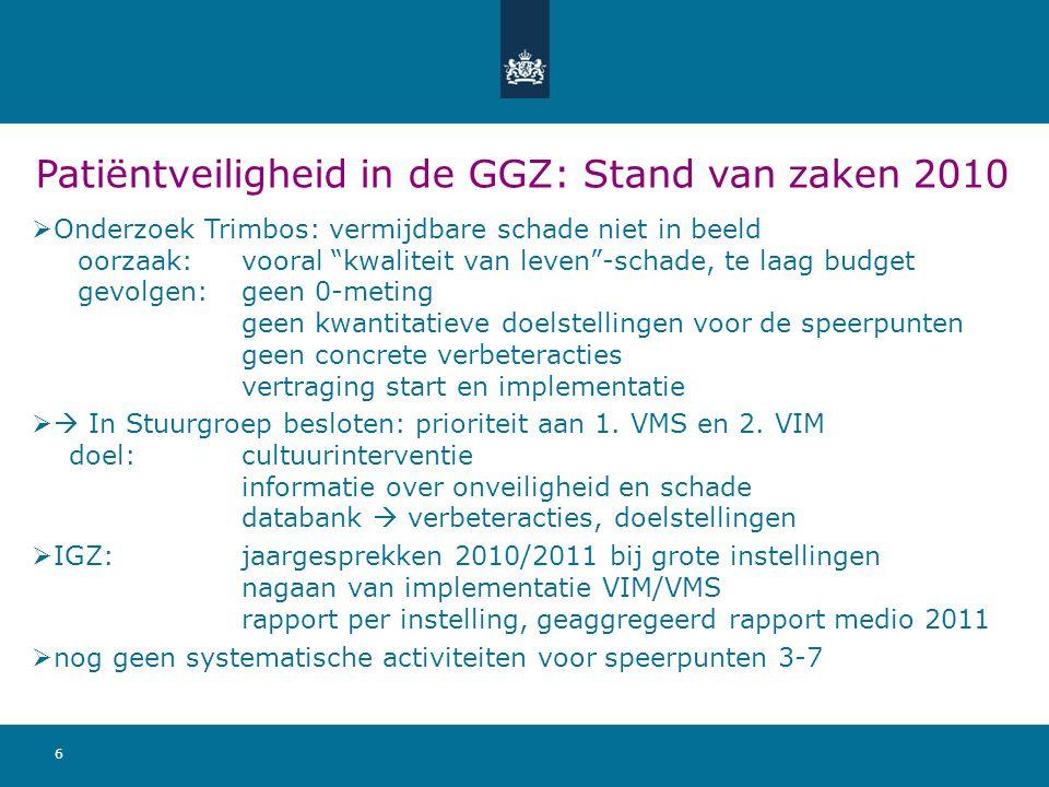 Patiëntveiligheid in de GGZ: Stand van zaken 2010