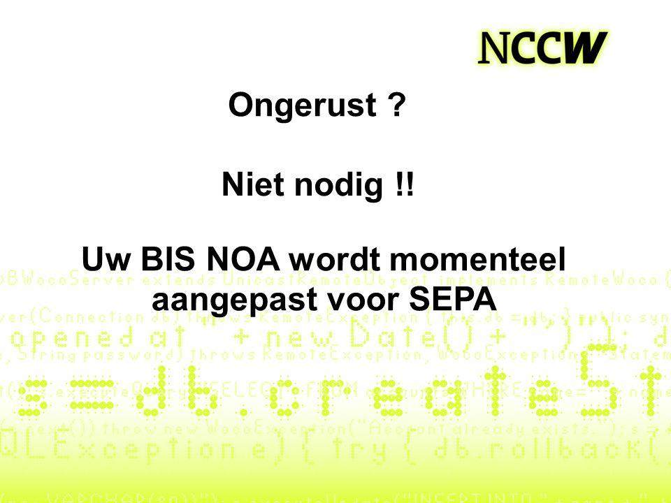 Uw BIS NOA wordt momenteel aangepast voor SEPA