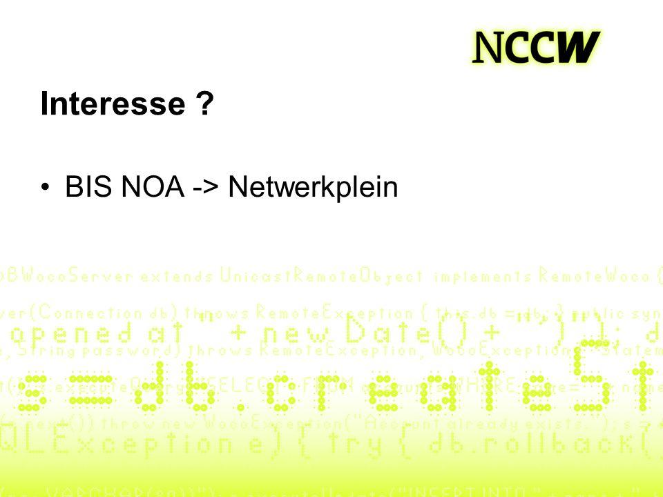 Interesse BIS NOA -> Netwerkplein