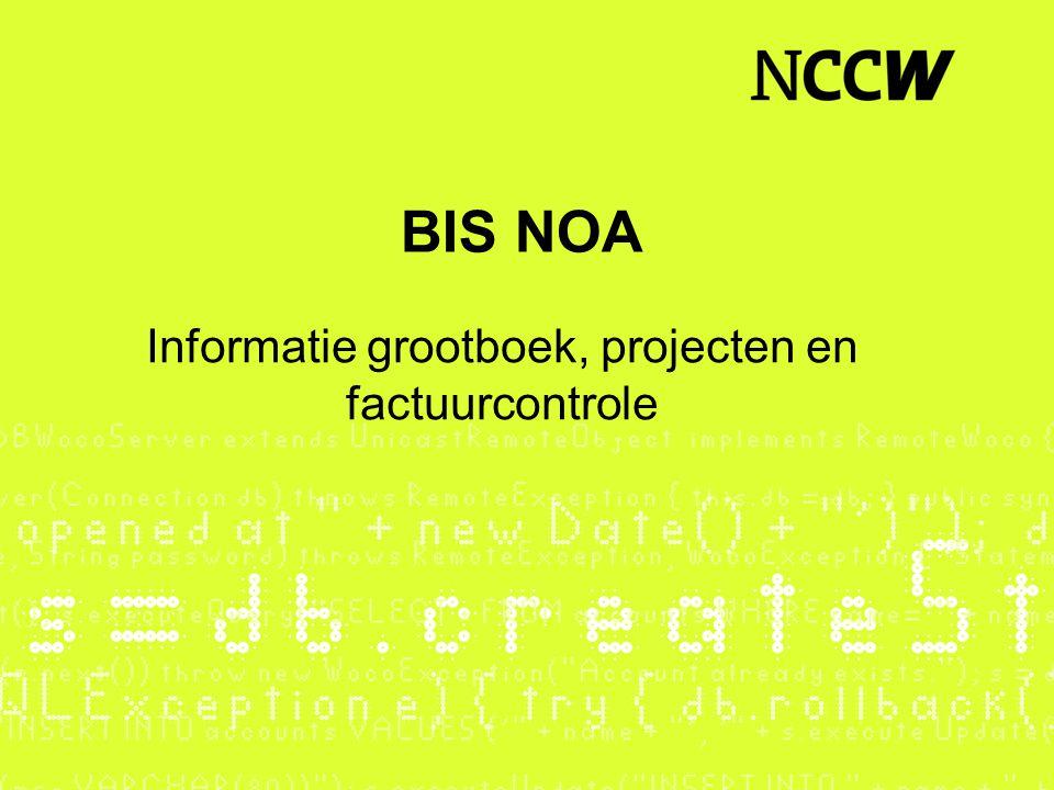 Informatie grootboek, projecten en factuurcontrole