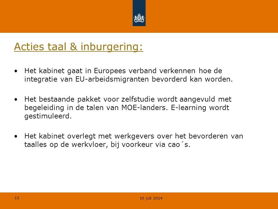 Acties taal & inburgering: