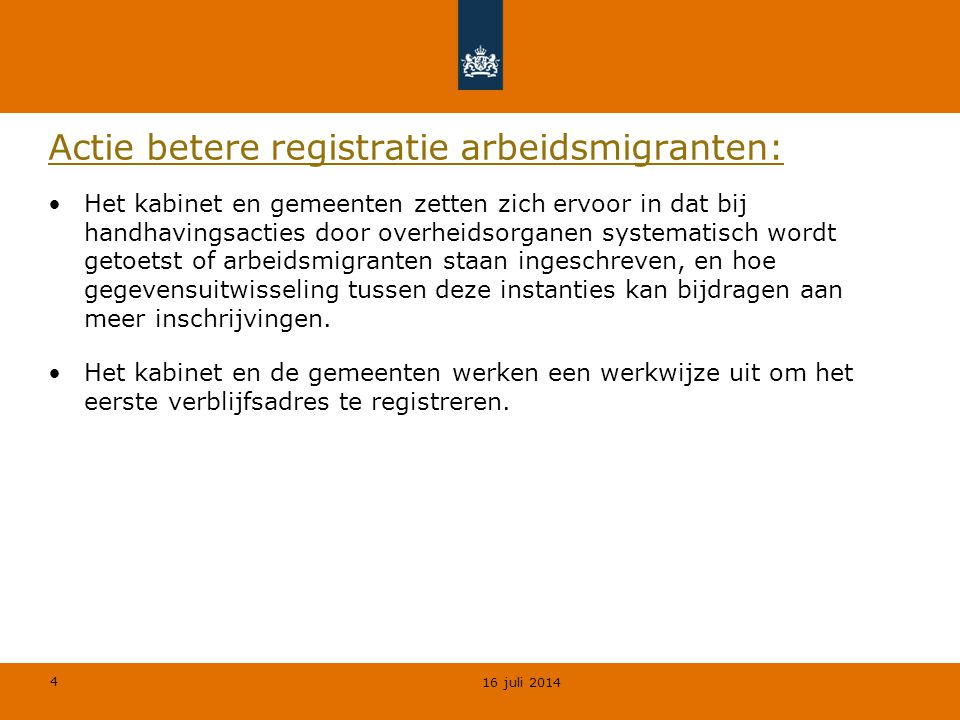 Actie betere registratie arbeidsmigranten: