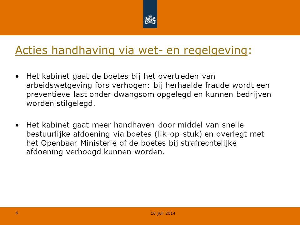 Acties handhaving via wet- en regelgeving: