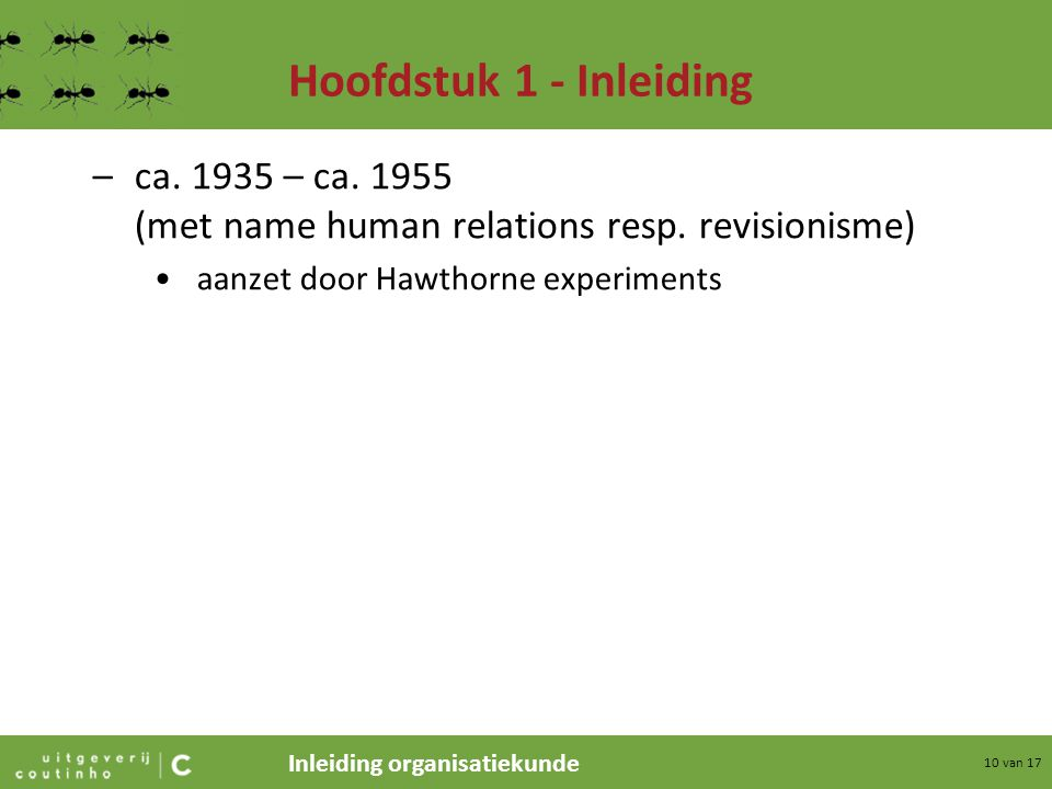 Hoofdstuk 1 - Inleiding ca. 1935 – ca. 1955 (met name human relations resp.