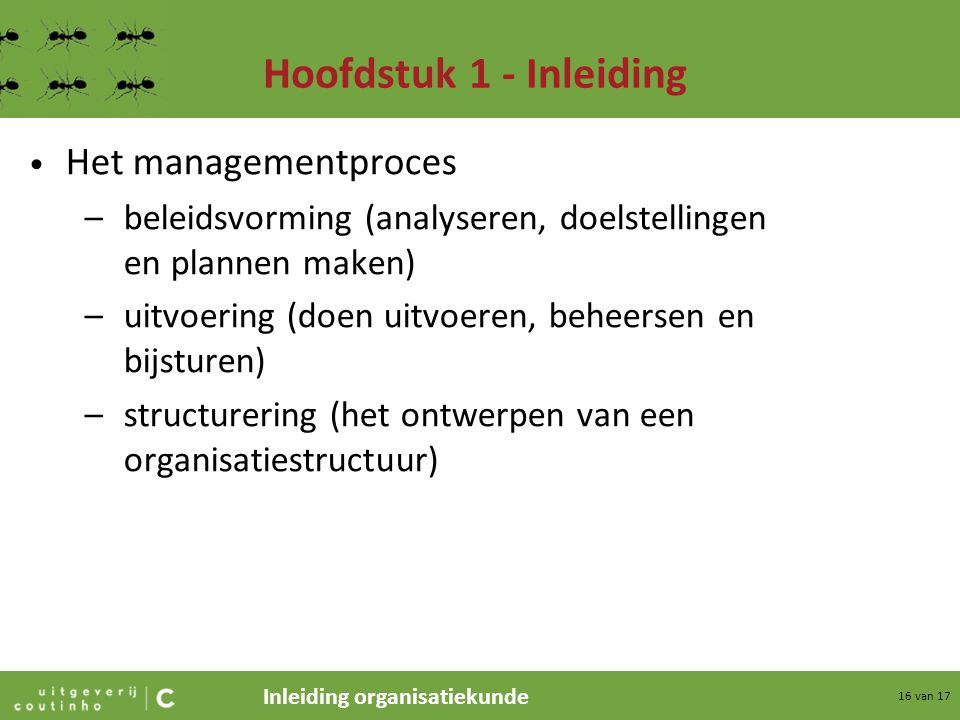 Hoofdstuk 1 - Inleiding Het managementproces