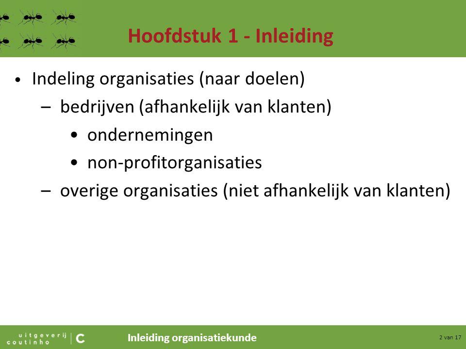 Hoofdstuk 1 - Inleiding Indeling organisaties (naar doelen)