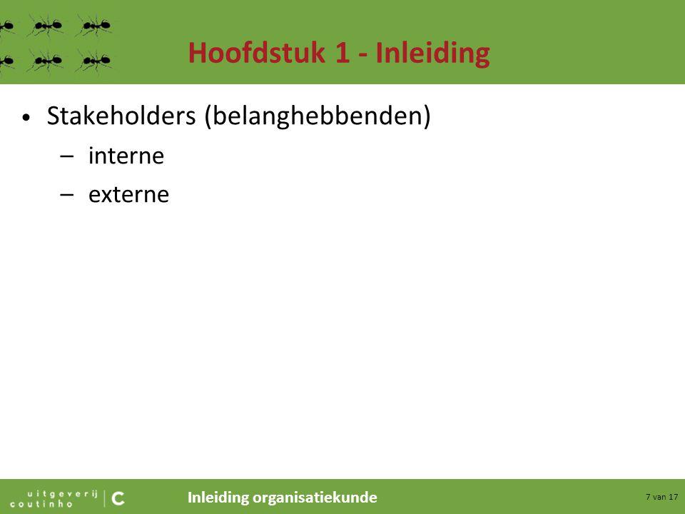 Hoofdstuk 1 - Inleiding Stakeholders (belanghebbenden) interne externe