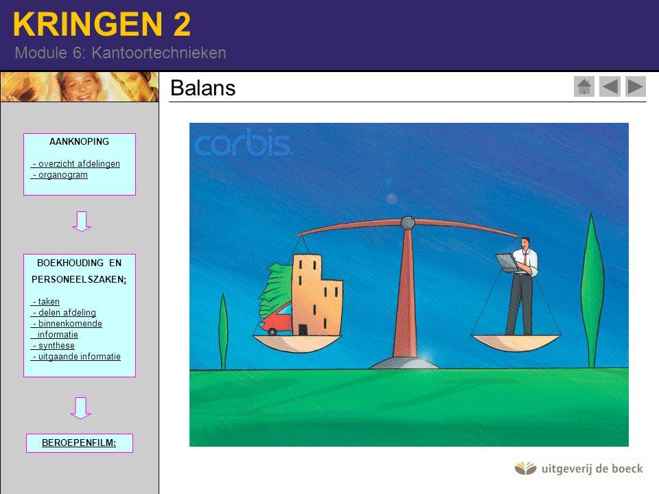 Balans AANKNOPING - overzicht afdelingen - organogram 100968-91| RM|