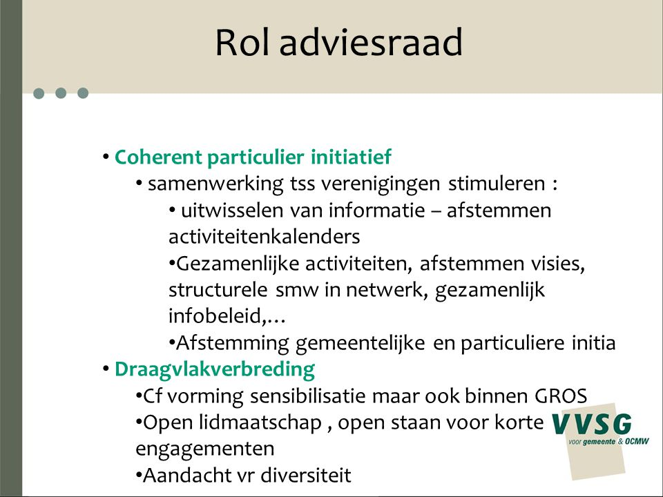 Rol adviesraad Coherent particulier initiatief