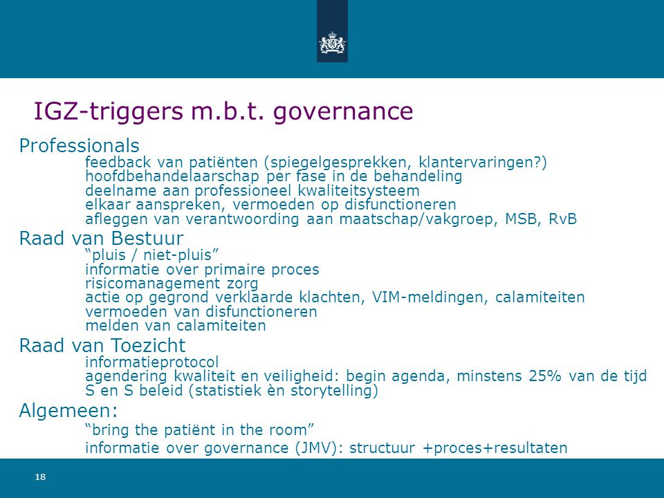 IGZ-triggers m.b.t. governance