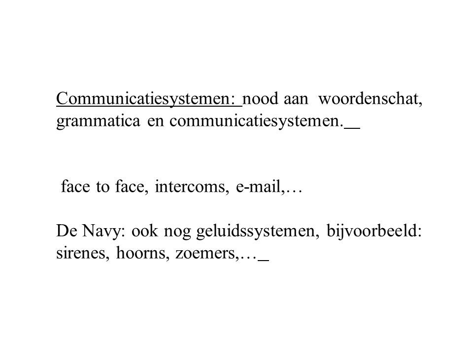 Communicatiesystemen: nood aan woordenschat,