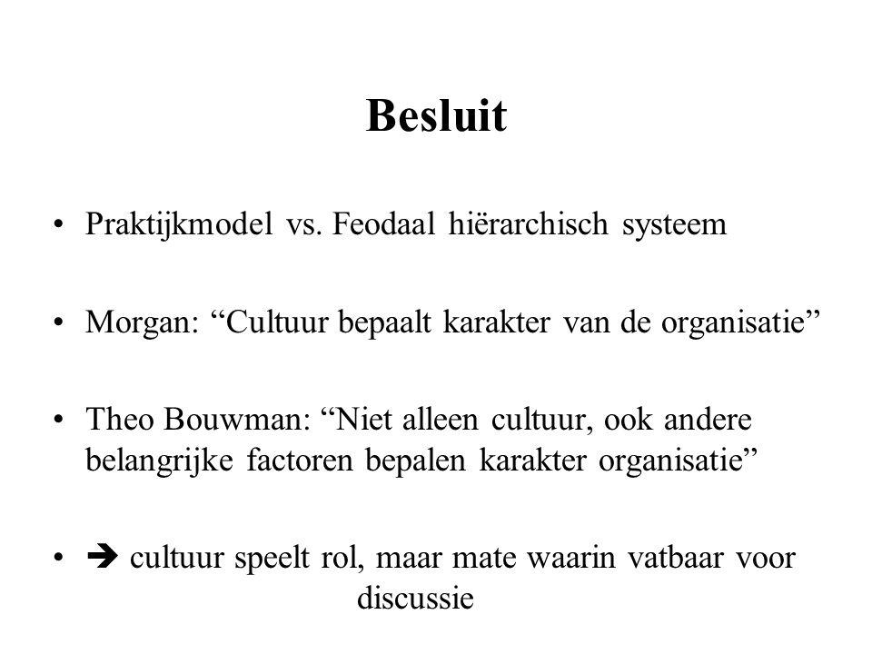 Besluit Praktijkmodel vs. Feodaal hiërarchisch systeem