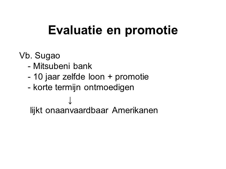 Evaluatie en promotie Vb. Sugao - Mitsubeni bank - 10 jaar zelfde loon + promotie - korte termijn ontmoedigen.
