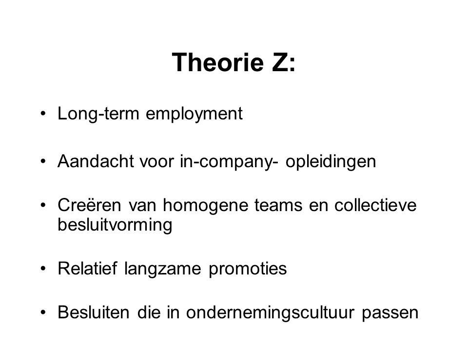 Theorie Z: Long-term employment Aandacht voor in-company- opleidingen