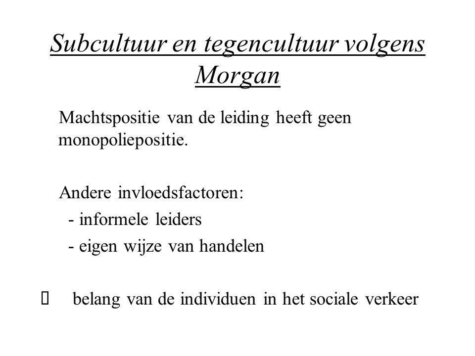Subcultuur en tegencultuur volgens Morgan